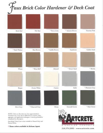 Faux Brick Color Hardener/Release agents